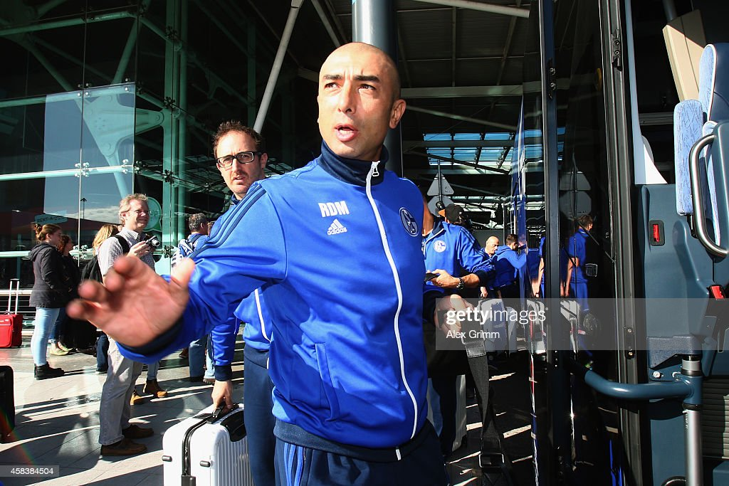 Head coach Roberto di Matteo of FC Schalke 04 arrives at Lisbon airport one day ahead of their UEFA Champions League Group G match against Sporting Club de Portugal on November 4, 2014 in Lisbon, Portugal.