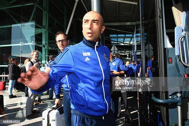 Head coach Roberto di Matteo of FC Schalke 04 arrives at Lisbon airport one day ahead of their UEFA Champions League Group G match against Sporting...