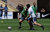 Head coach Roberto Mancini and Daniel Bessa compete for the ball during the FC Internazionale training session at University of Portland on July 20...