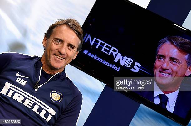 Head coach Roberto Mancini during an interview after the FC Internazionale Training Session at Appiano Gentile on January 02 2015 in Como Italy