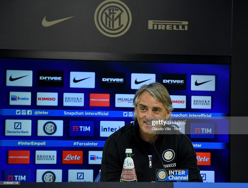 Head coach <a gi-track='captionPersonalityLinkClicked' href=/galleries/search?phrase=Roberto+Mancini&family=editorial&specificpeople=234429 ng-click='$event.stopPropagation()'>Roberto Mancini</a> during the press conference at the club's training ground at Appiano Gentile on May 6, 2016 in Como, Italy.