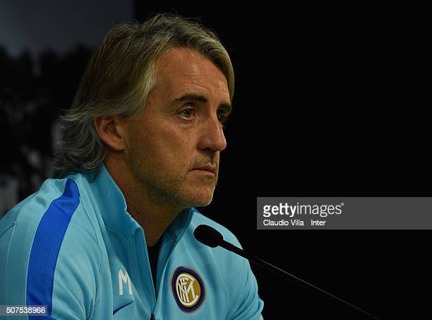 Head coach Roberto Mancini of FC Internazionale speaks to the media during a press conference at the club's training ground at Appiano Gentile on...