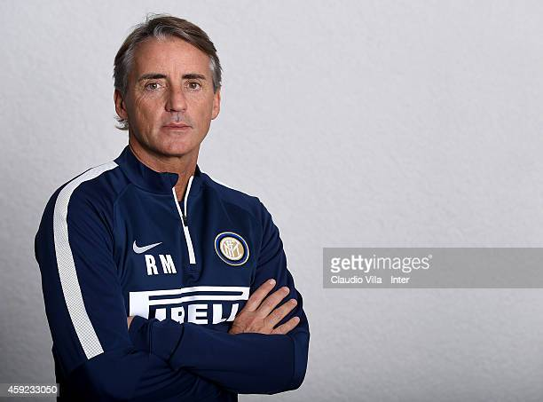 Head coach Roberto Mancini poses prior to the FC Internazionale Training Session at Appiano Gentile on November 19 2014 in Como Italy