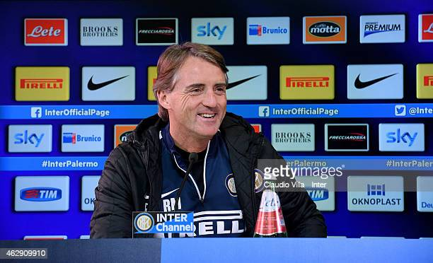 Head coach Roberto Mancini speaks during an FC Internazionale Press Conference at Appiano Gentile on February 7 2015 in Como Italy