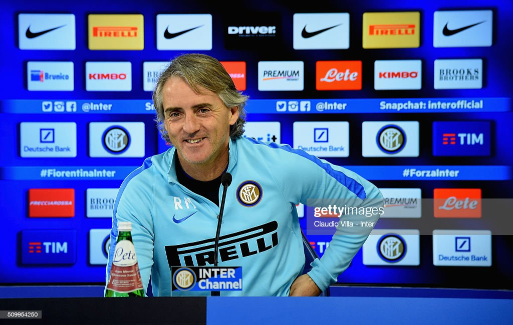 Head Coach <a gi-track='captionPersonalityLinkClicked' href=/galleries/search?phrase=Roberto+Mancini&family=editorial&specificpeople=234429 ng-click='$event.stopPropagation()'>Roberto Mancini</a> speaks to the media during a press conference at the club's training ground at Appiano Gentile on February 13, 2016 in Como, Italy.