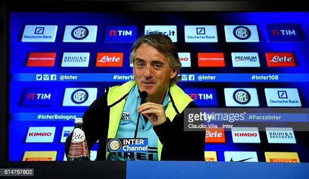 Head Coach Roberto Mancini speaks to the media during a press conference at the club's training ground at Appiano Gentile on March 11 2016 in Como...