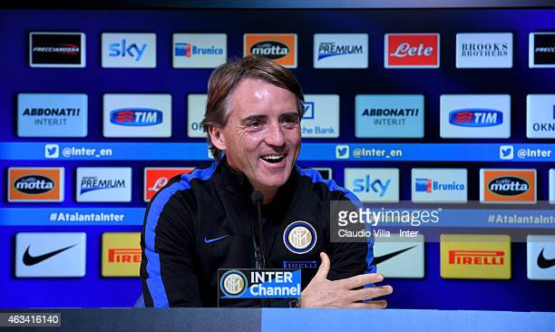 Head coach Roberto Mancini speaks to the media during an FC Internazionale Press Conference at Appiano Gentile on February 14 2015 in Como Italy