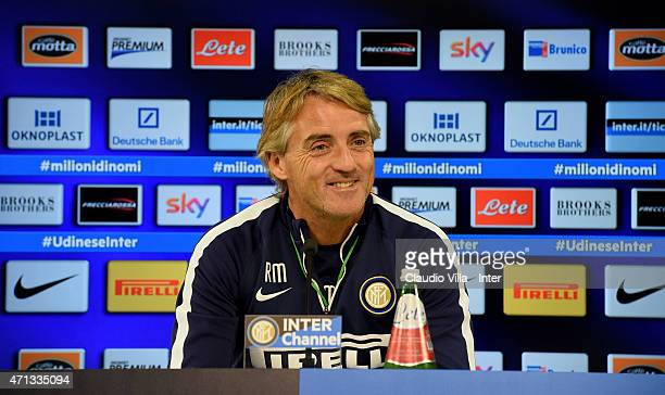 Head coach Roberto Mancini speaks to the media during an FC Internazionale Press Conference at Appiano Gentile on April 27 2015 in Como Italy