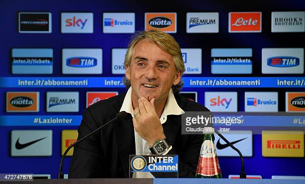 Head coach Roberto Mancini speaks to the media during an FC Internazionale Press Conference at Appiano Gentile on May 09 2015 in Como Italy