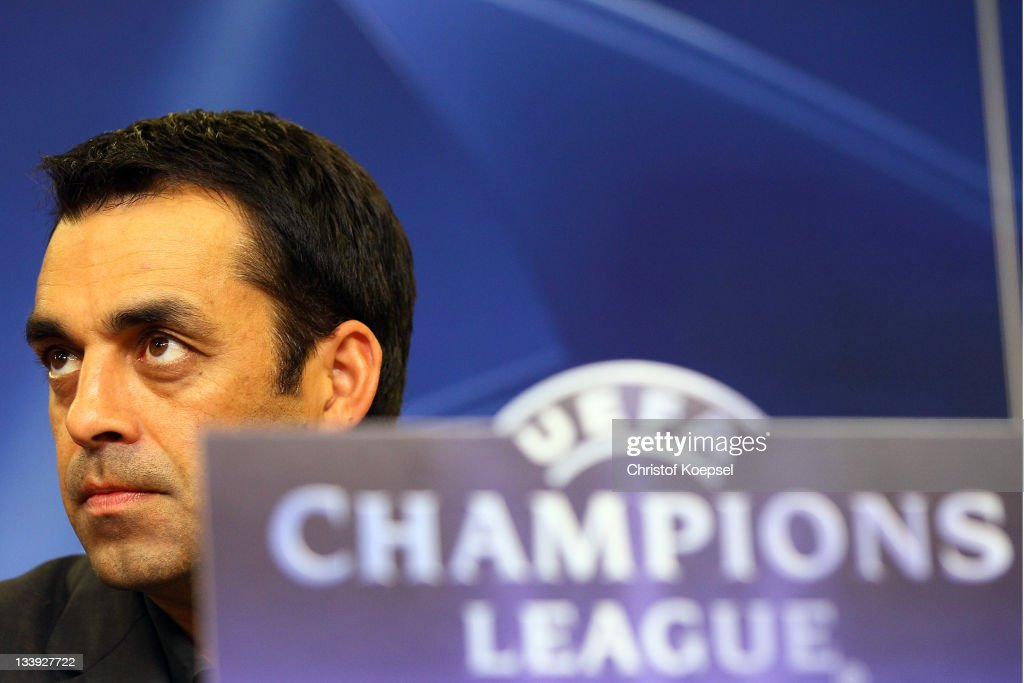 Head coach Robin Dutt attends the Bayer Leverkusen press conference at BayArena on November 22 2011 in Leverkusen Germany