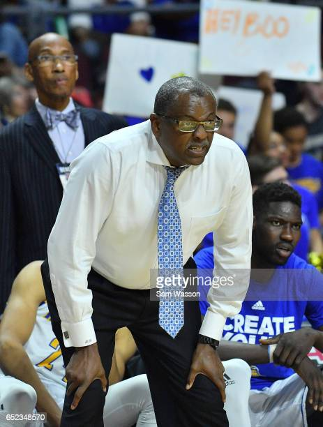 Head coach Rod Barnes of the Cal State Bakersfield Roadrunners looks on during the championship game of the Western Athletic Conference Basketball...