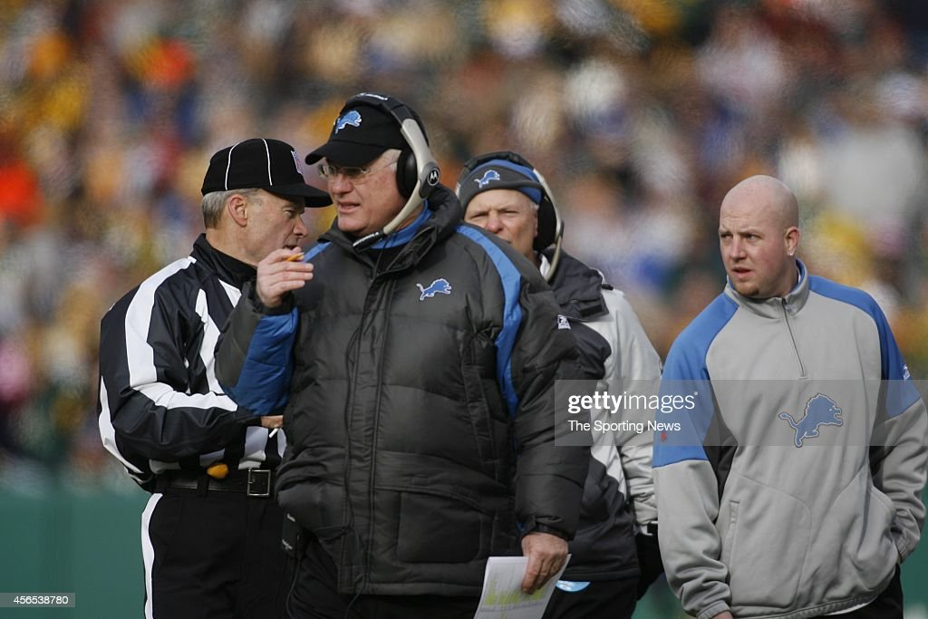 Head Coach Rod Marinelli of the Detroit Lions looks on from the sidelines during a game against the Green Bay Packers on December 17, 2006 at Lambeau Field in Green Bay, Wisconsin.