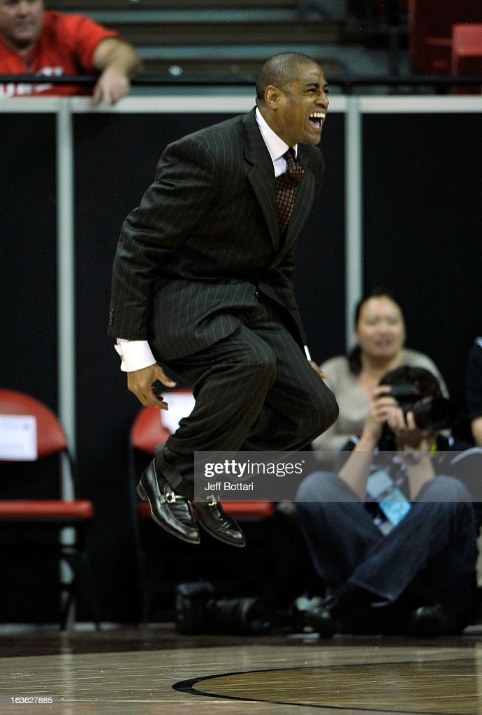 Head coach Rodney Terry of the Fresno State Bulldogs reacts to a call by a referee during a quarterfinal game of the Reese's Mountain West Conference...