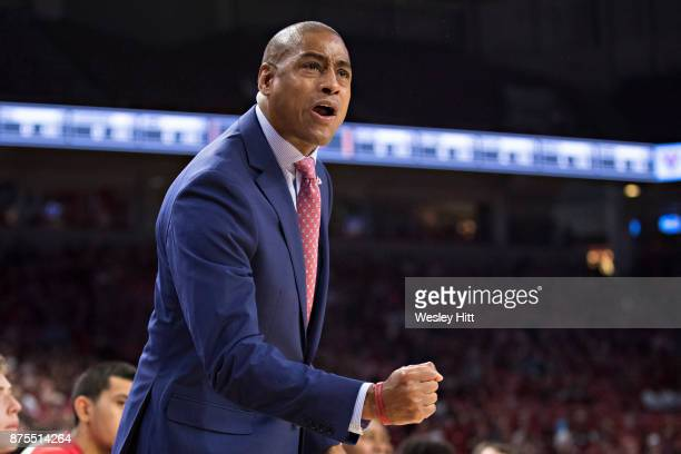 Head Coach Rodney Terry of the Fresno State Bulldogs yells to the officials during a game against the Arkansas Razorbacks at Bud Walton Arena on...