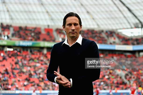 Head coach Roger Schmidt of Bayer Leverkusen looks on prior to kickoff during the Bundesliga match between Bayer 04 Leverkusen and FC Bayern Muenchen...