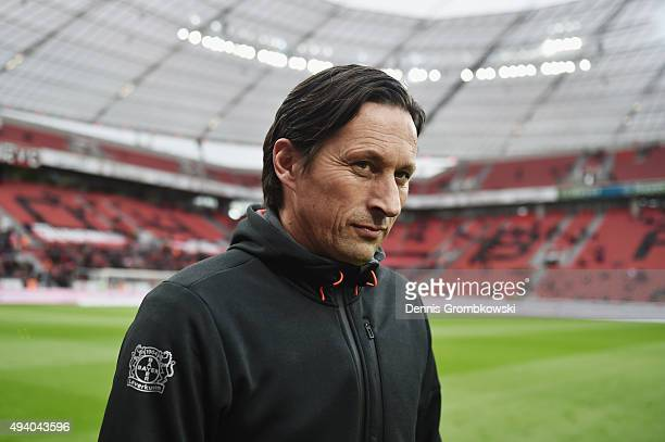 Head coach Roger Schmidt of Bayer Leverkusen looks on prior to kickoff during the Bundesliga match between Bayer Leverkusen and VfB Stuttgart at...