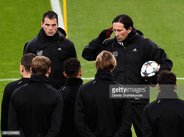 Head coach Roger Schmidt of Bayer Leverkusen reacts during a training session ahead of their UEFA Champions League Round of 16 first leg match...