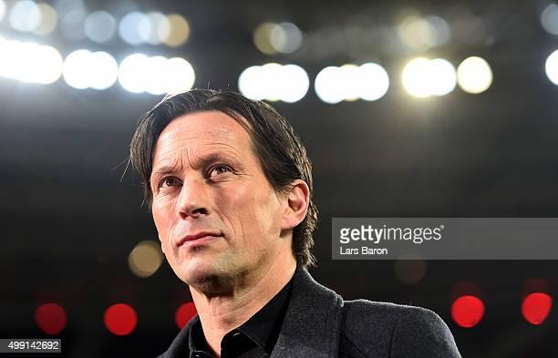 Head coach Roger Schmidt of Leverkusen is seen prior to the Bundesliga match between Bayer Leverkusen and FC Schalke 04 at BayArena on November 29...