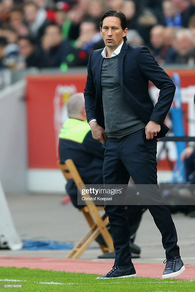Head coach <a gi-track='captionPersonalityLinkClicked' href=/galleries/search?phrase=Roger+Schmidt+-+Fu%C3%9Fballmanager&family=editorial&specificpeople=13515848 ng-click='$event.stopPropagation()'>Roger Schmidt</a> of Leverkusen looks on during the Bundesliga match between Bayer Leverkusen and Hertha BSC Berlin at BayArena on April 30, 2016 in Leverkusen, Germany.