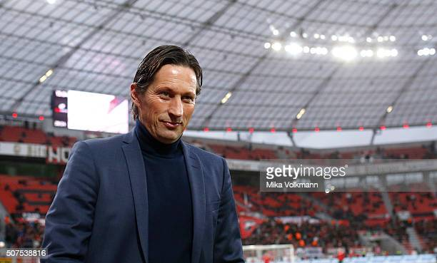 Head Coach Roger Schmidt of Leverkusen looks on prior the Bundesliga match between Bayer Leverkusen and Hannover 96 at BayArena on January 30 2016 in...