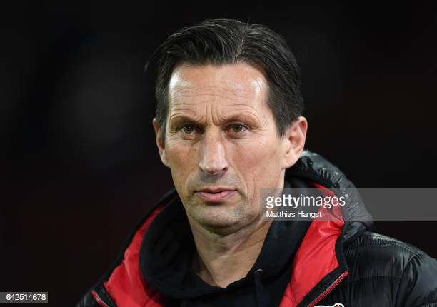Head coach Roger Schmidt of Leverkusen seen prior to the Bundesliga match between FC Augsburg and Bayer 04 Leverkusen at WWK Arena on February 17...