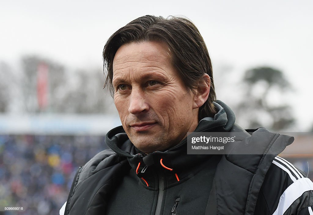 Head coach <a gi-track='captionPersonalityLinkClicked' href=/galleries/search?phrase=Roger+Schmidt+-+Soccer+Manager&family=editorial&specificpeople=13515848 ng-click='$event.stopPropagation()'>Roger Schmidt</a> of Leverkusen seen prior to the match between SV Darmstadt 98 and Bayer Leverkusen at Merck-Stadion am Boellenfalltor on February 13, 2016 in Darmstadt, Germany.