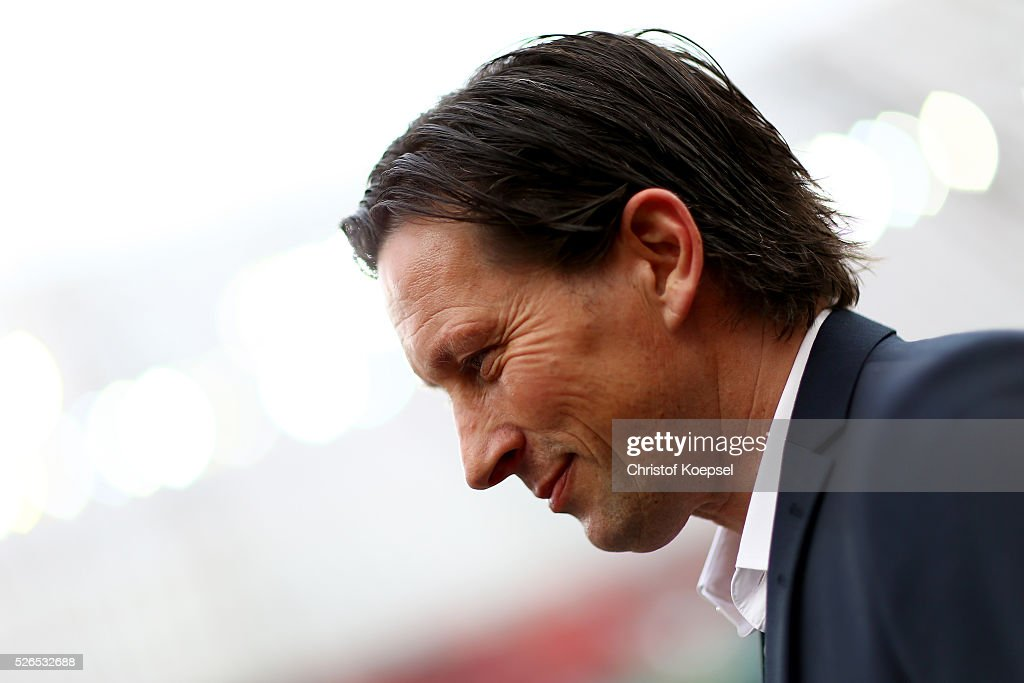 Head coach Roger Schmidt of Leverkusen0 looks on prior to the Bundesliga match between Bayer Leverkusen and Hertha BSC Berlin at BayArena on April 30, 2016 in Leverkusen, Germany.