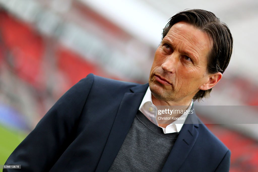 Head coach <a gi-track='captionPersonalityLinkClicked' href=/galleries/search?phrase=Roger+Schmidt+-+Dirigente+calcistico&family=editorial&specificpeople=13515848 ng-click='$event.stopPropagation()'>Roger Schmidt</a> of Leverkusen0 looks on prior to the Bundesliga match between Bayer Leverkusen and Hertha BSC Berlin at BayArena on April 30, 2016 in Leverkusen, Germany.