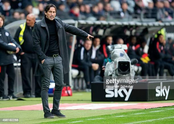 Head Coach Roger Schmidt reacts during the Bundesliga match between Eintracht Frankfurt and Bayer 04 Leverkusen at CommerzbankArena on November 21...