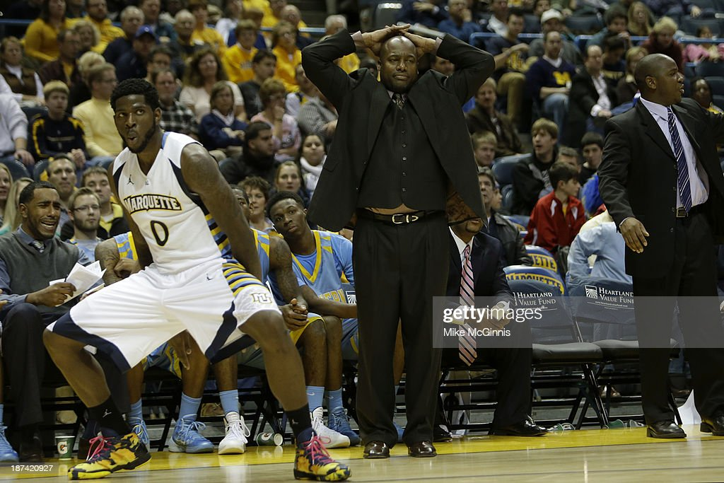 Head Coach Roman Banks of the Southern Jaguars reacts after Jamil Wilson #0 of the Marquette Golden Eagles draws the foul in the first half of play at BMO Harris Bradley Center on November 08, 2013 in Madison, Wisconsin.