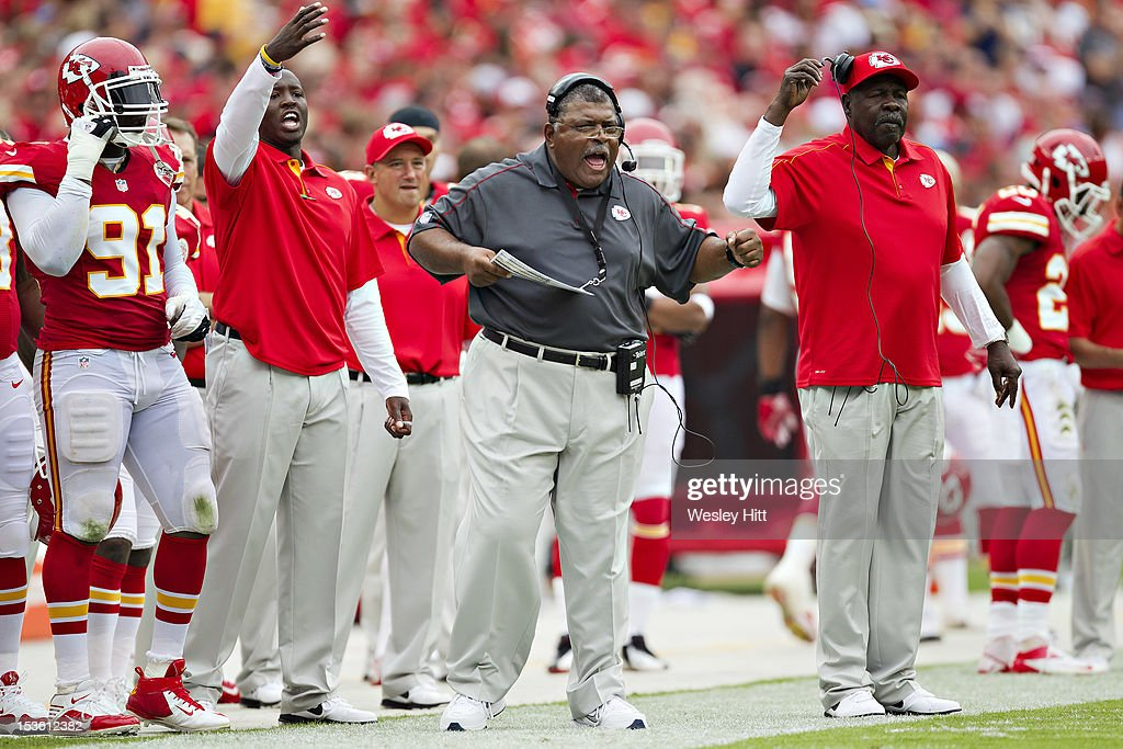 Head Coach <a gi-track='captionPersonalityLinkClicked' href=/galleries/search?phrase=Romeo+Crennel&family=editorial&specificpeople=564028 ng-click='$event.stopPropagation()'>Romeo Crennel</a> of the Kansas City Chiefs reacts to a play during a game against the San Diego Chargers at Arrowhead Stadium on September 30, 2012 in Kansas City, Missouri. The Chargers defeated the Chiefs 37-20.