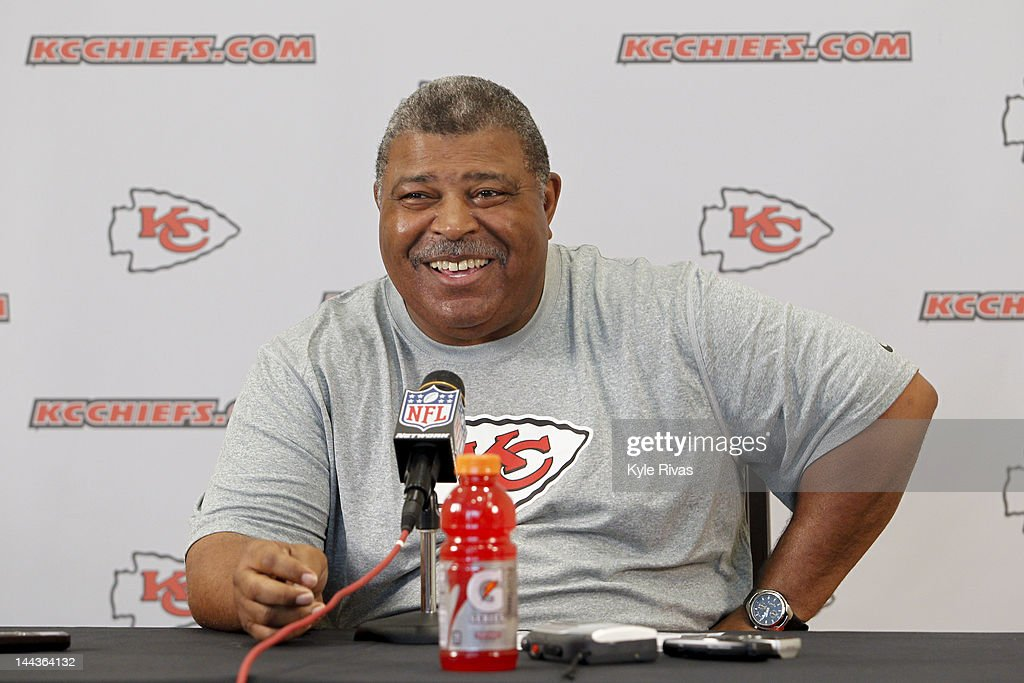 Head coach <a gi-track='captionPersonalityLinkClicked' href=/galleries/search?phrase=Romeo+Crennel&family=editorial&specificpeople=564028 ng-click='$event.stopPropagation()'>Romeo Crennel</a> of the Kansas City Chiefs speaks with the media about the days camps during the Kansas City Chiefs Minicamp on May 13, 2012 at the Chiefs Training Facility in Kansas City, Missouri.