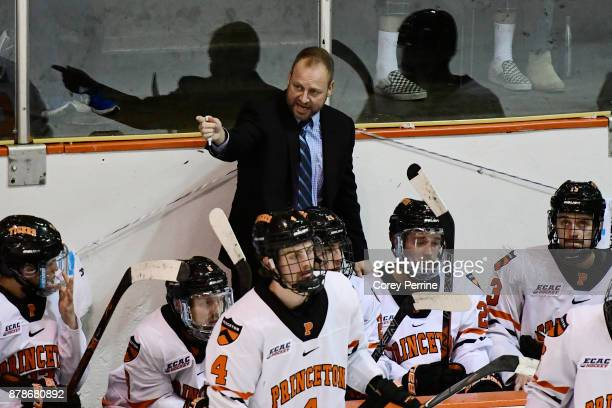 Head coach Ron Fogarty of the Princeton Tigers coaches against the Bemidji State Beavers during the second period at Hobey Baker Rink on November 24...