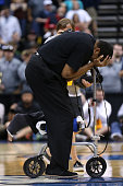 Head coach Ron Hunter of the Georgia State Panthers celebrates after the Panthers win 5756 against the Baylor Bears in the second round of the 2015...