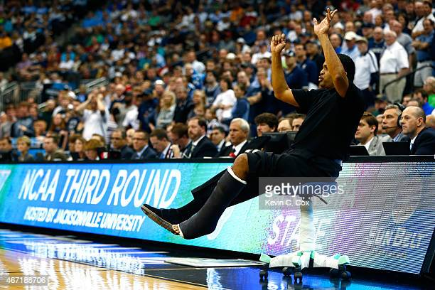 Head coach Ron Hunter of the Georgia State Panthers reacts against the Xavier Musketeers in the second half during the third round of the 2015 NCAA...