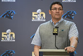 Head coach Ron Rivera of the Carolina Panther addresses the media prior to Super Bowl 50 at the San Jose Convention Center/ San Jose Marriott on...