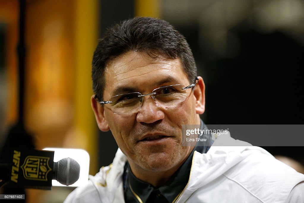 Head coach Ron Rivera of the Carolina Panthers addresses the media at Super Bowl Opening Night Fueled by Gatorade at SAP Center on February 1 2016 in...