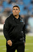 Head coach Ron Rivera of the Carolina Panthers during their game at Bank of America Stadium on October 25 2015 in Charlotte North Carolina