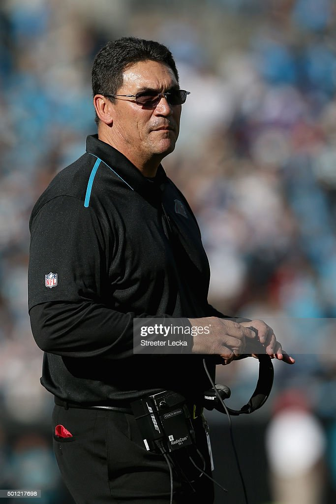 Head coach Ron Rivera of the Carolina Panthers looks on against the Atlanta Falcons in the 1st quarter during their game at Bank of America Stadium...