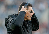 Head coach Ron Rivera of the Carolina Panthers looks on against the Tampa Bay Buccaneers in the 1st quarter during their game at Bank of America...
