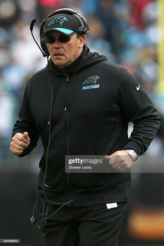 Head coach Ron Rivera of the Carolina Panthers looks on against the Seattle Seahawks in the 2nd quarter during the NFC Divisional Playoff Game at...
