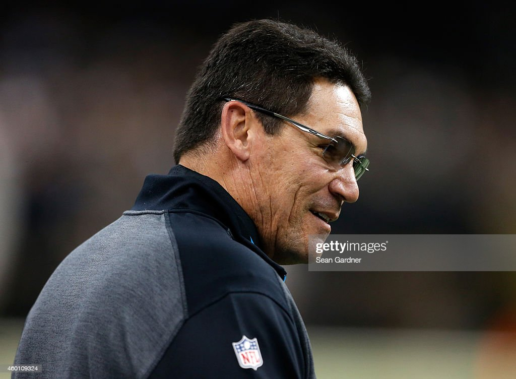 Head coach Ron Rivera of the Carolina Panthers looks on during the first quarter against the New Orleans Saints at MercedesBenz Superdome on December...