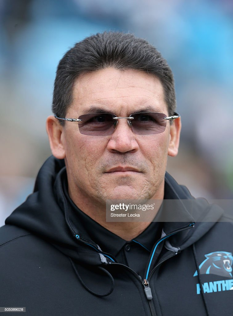 Head coach Ron Rivera of the Carolina Panthers looks on during pregame against the Seattle Seahawks at the NFC Divisional Playoff Game at Bank of...