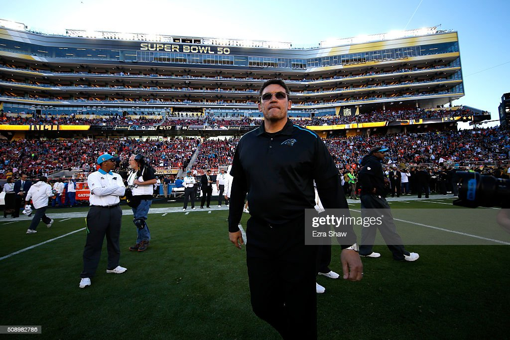 Head coach <a gi-track='captionPersonalityLinkClicked' href=/galleries/search?phrase=Ron+Rivera&family=editorial&specificpeople=590509 ng-click='$event.stopPropagation()'>Ron Rivera</a> of the Carolina Panthers looks on prior to Super Bowl 50 against the Denver Broncos at Levi's Stadium on February 7, 2016 in Santa Clara, California.