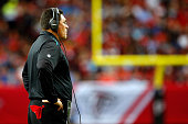 Head coach Ron Rivera of the Carolina Panthers on the sidelines during the first half against the Atlanta Falcons at the Georgia Dome on December 27...
