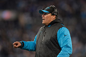 Head coach Ron Rivera of the Carolina Panthers reacts in the first half against the Arizona Cardinals during the NFC Championship Game at Bank of...