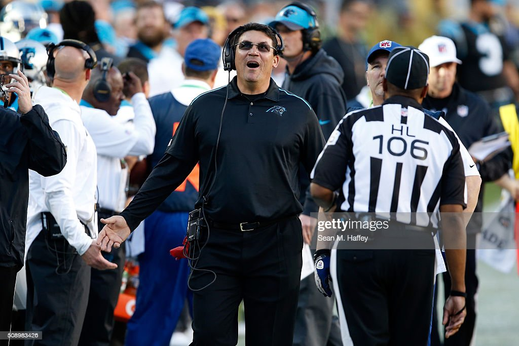 Head coach Ron Rivera of the Carolina Panthers reacts to a play during Super Bowl 50 against the Denver Broncos at Levi's Stadium on February 7 2016...