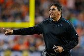 Head coach Ron Rivera of the Carolina Panthers signals from the sidelines during Super Bowl 50 against the Denver Broncos at Levi's Stadium on...