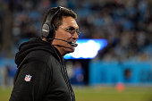 Head coach Ron Rivera of the Carolina Panthers watches during their game against the Tampa Bay Buccaneers at Bank of America Stadium on January 3...