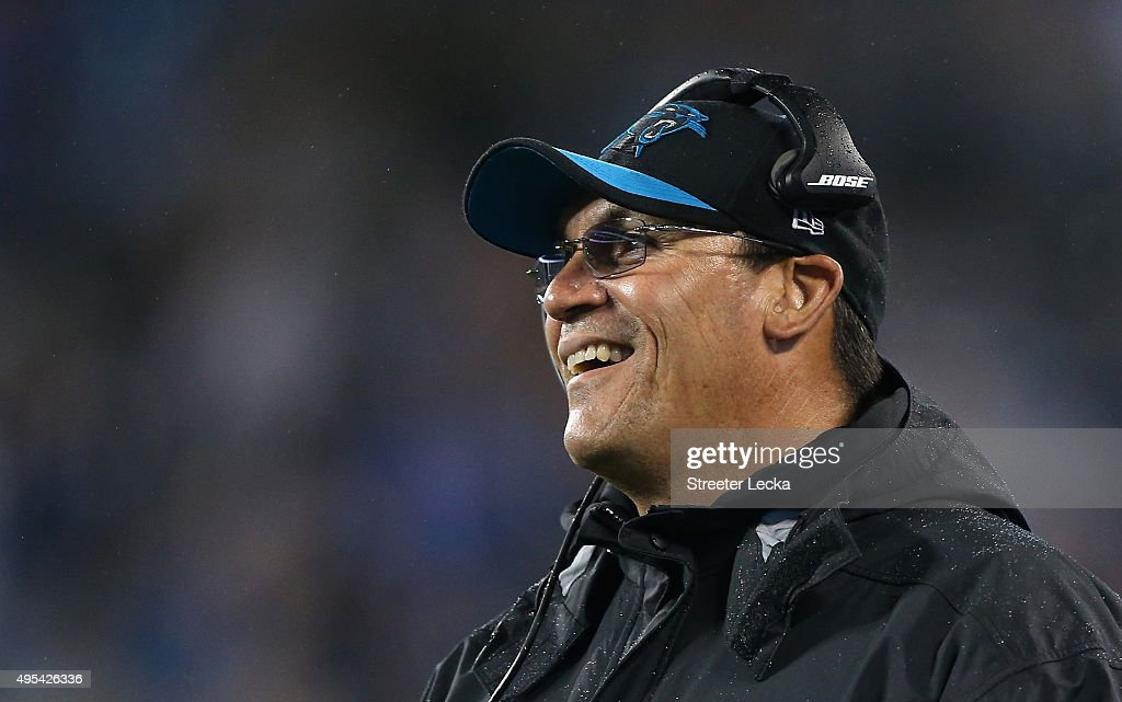 Head coach Ron Rivera of the Carolina Panthers watches on their game against the Indianapolis Colts at Bank of America Stadium on November 2 2015 in...